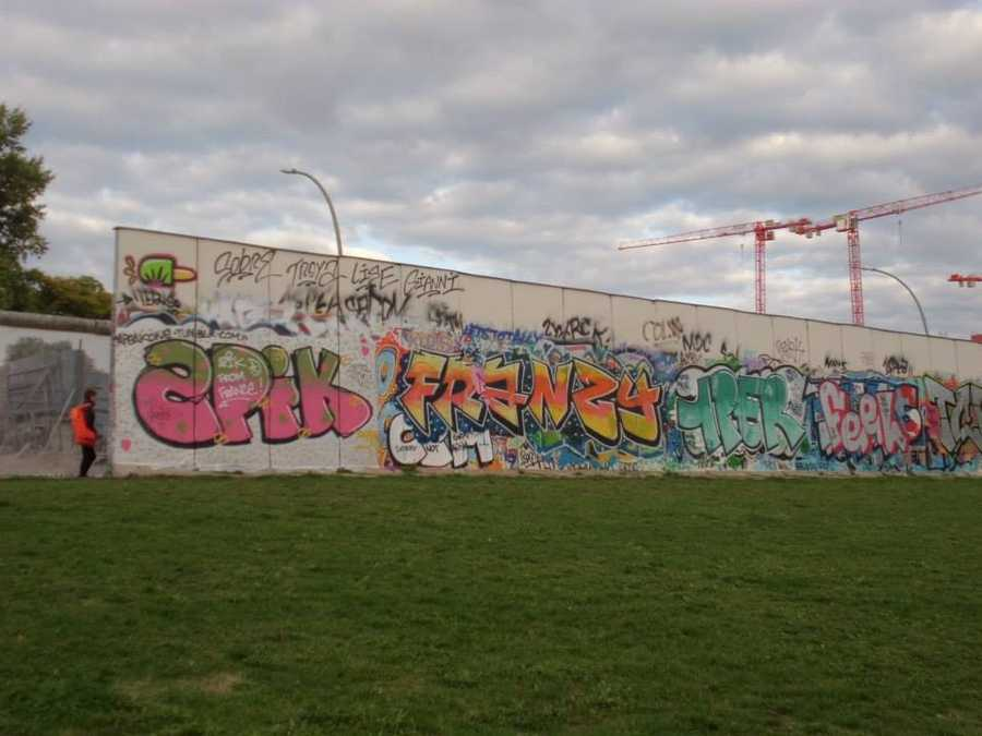 The longest remaining whole section of the Berlin Wall is only eight-tenths of a mile long.