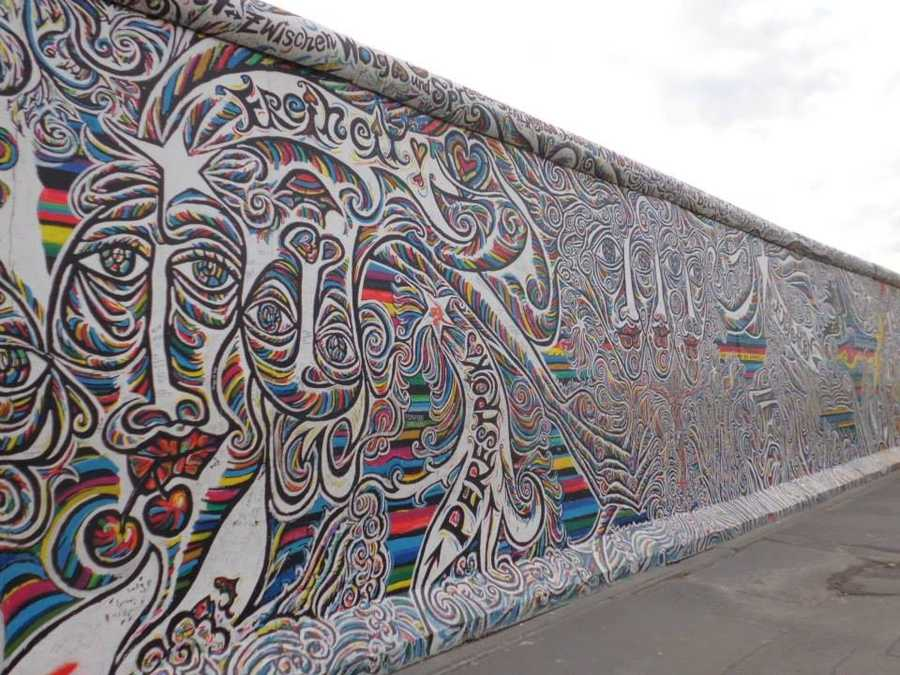 Parts of the East Side Gallery walls commemorate the fall of the Berlin Wall, as depicted by artists from around the world.