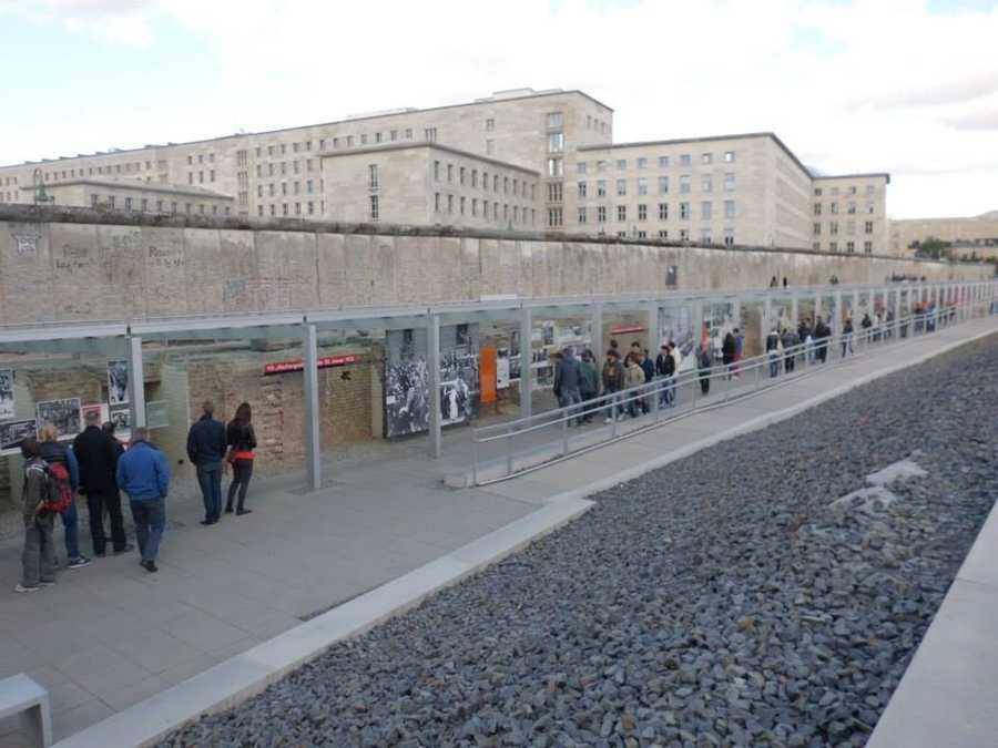The Topography of Terror museum stands near a section of the Berlin Wall. The museum sits on the former site of the Gestapo, the secret police, and Third Reich security headquarters, which was destroyed during the liberation of Berlin in 1945.