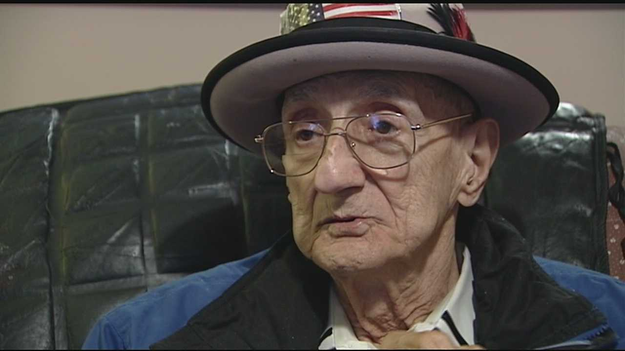 """Saying he always had a little Newport in him, Johnny """"TV"""" Peluso reminisced today about his survival as an Army private in World War II."""
