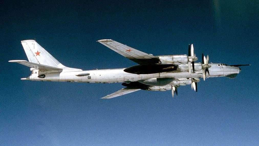 "TU-95 ""Bear"" reconnaissance bomber. Photo taken in 1983, but bomber is still backbone of Russian patrol fleet."
