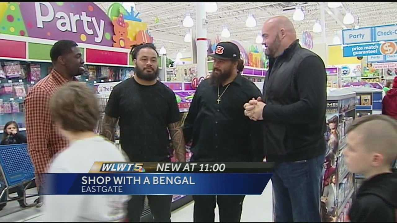 A few Cincinnati Bengals players are making a difference off the field. Four players helped Tri-State kids shop for the holidays. Andrew Whitworth, Domata Peko, Rey Maulaluga and Robert Geathers all participated in the annual Shop with the Bengals in Eastgate. About 60 kids were allowed to choose their own Christmas presents and a gift for someone else. The four players plus Andre Smith and Terrence Newman all footed the bill. It's a tradition that means the world to the kids and the players.