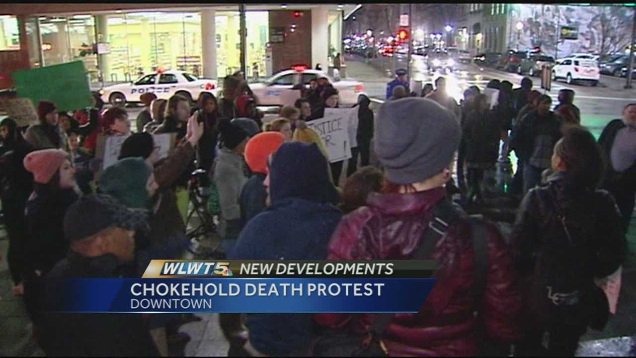 Thursday's protest was smaller and shorter in duration than one last week after the Ferguson grand jury's decision was made public, but some of the same people came out to both and the message was the same.