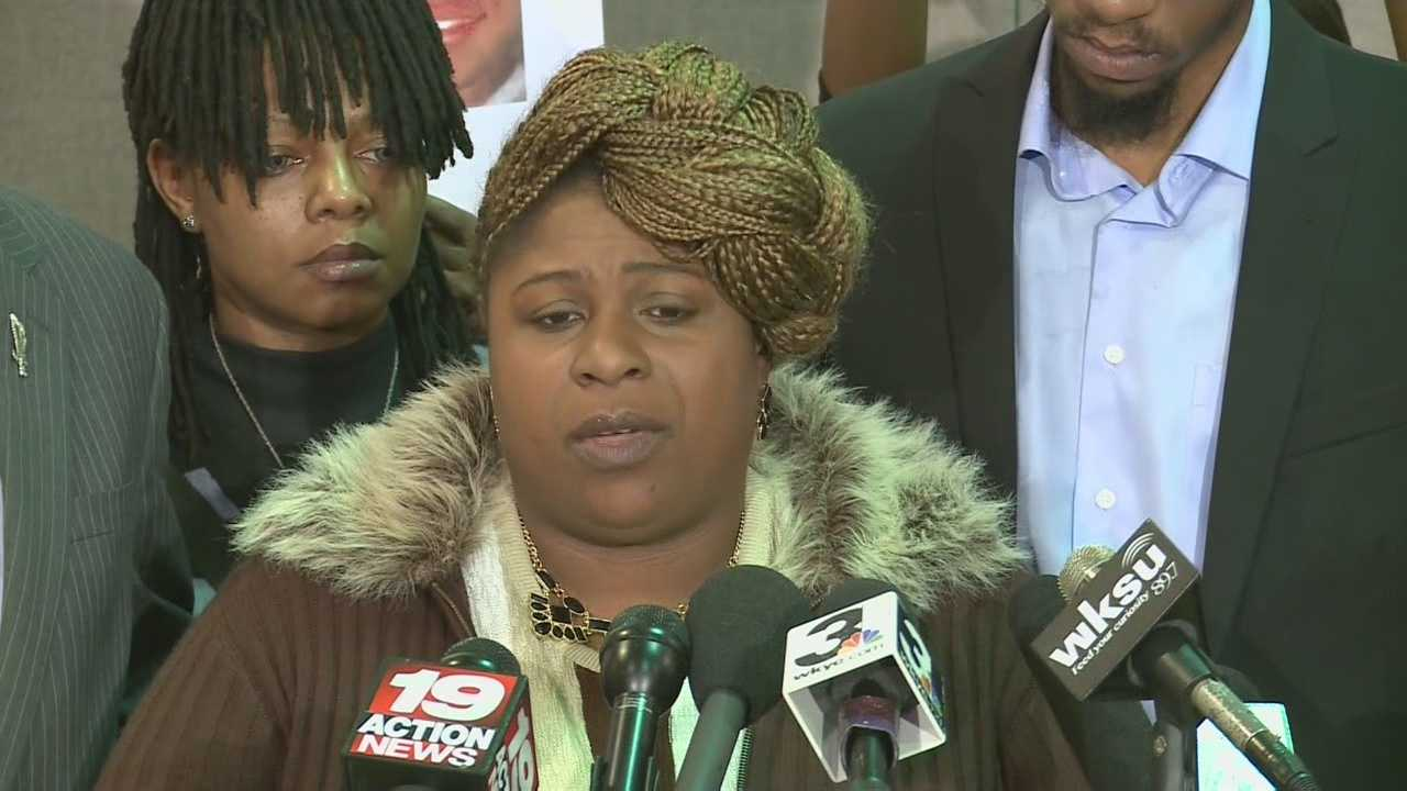 Tamir Rice's mother, Samaria Rice, spoke Monday in Cleveland.