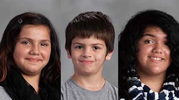(Left to right) Siclalia Flores-Ortiz, 10, Alexander Flores-Ortiz, 7, and Yesenia Flores-Ortiz, 12.