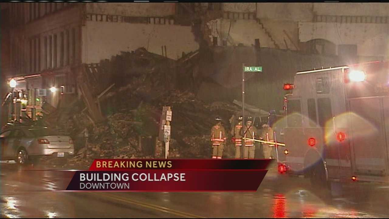 A building in downtown Cincinnati was reduced to a pile of rubble after it partially collapsed at about 9:30 p.m. Saturday. Authorities said the building is in the 100 block of West Court Street near Elm Street.