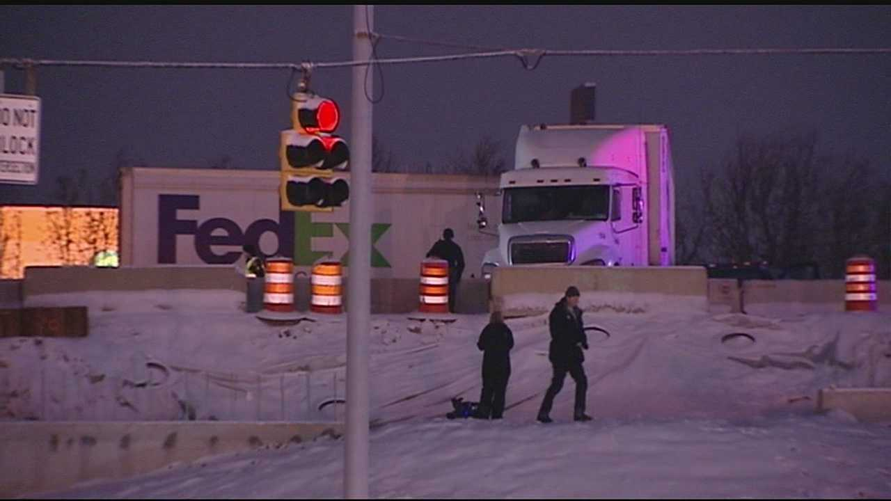 A pair of Fed Ex trucks jackknifed around 6 a.m. Tuesday. One closed the ramp from Interstate 75 northbound to Cin-Day Road for more than an hour. The other truck jackknifed on northbound I-71 near Fields Ertel, hitting a Hamilton County sheriff's office SUV that was working a previous crash in the left lane.