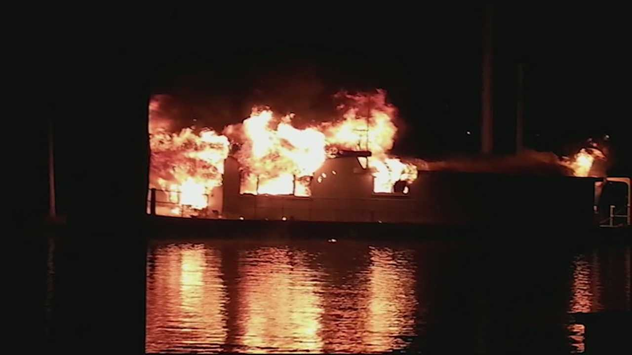 A woman who narrowly escaped a houseboat fire is saying she wouldn't have made it if not for her dog. A woman's attempt to stay warm may have led to a boat fire in Dayton.