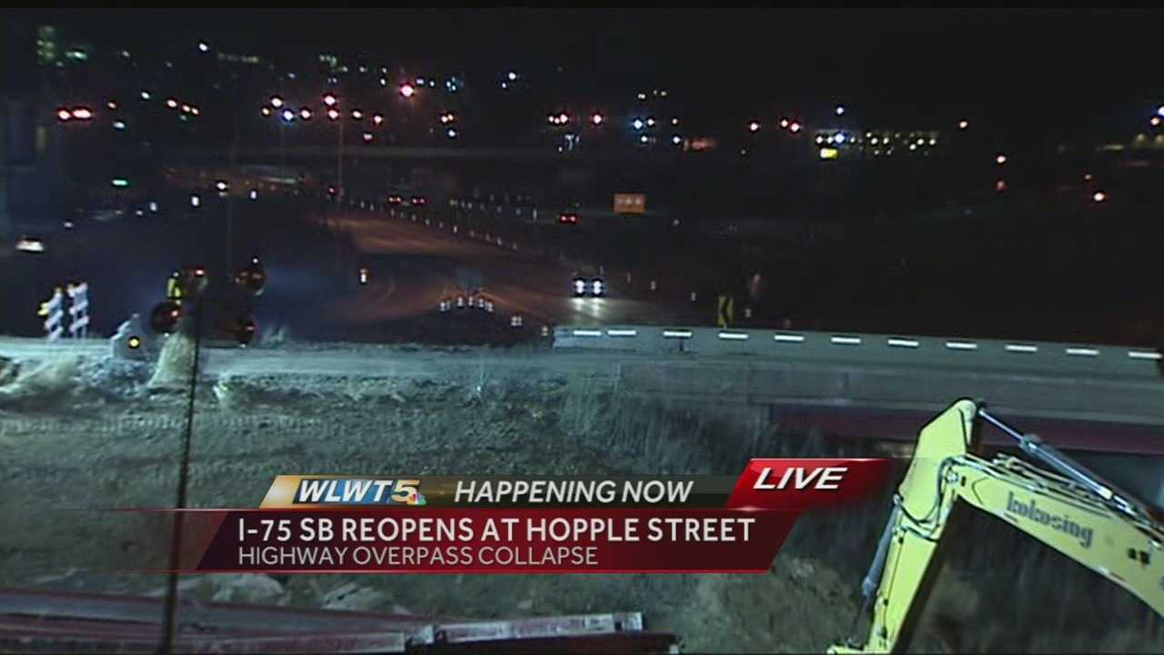 Engineers inspected the road Tuesday night after the concrete rubble was cleared and said it was structurally sound. Road crews patched some areas of pavement and reopened the interstate about 10 p.m.