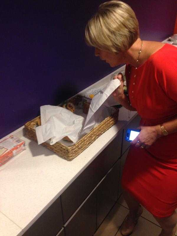Lisa checks out the bagel selection