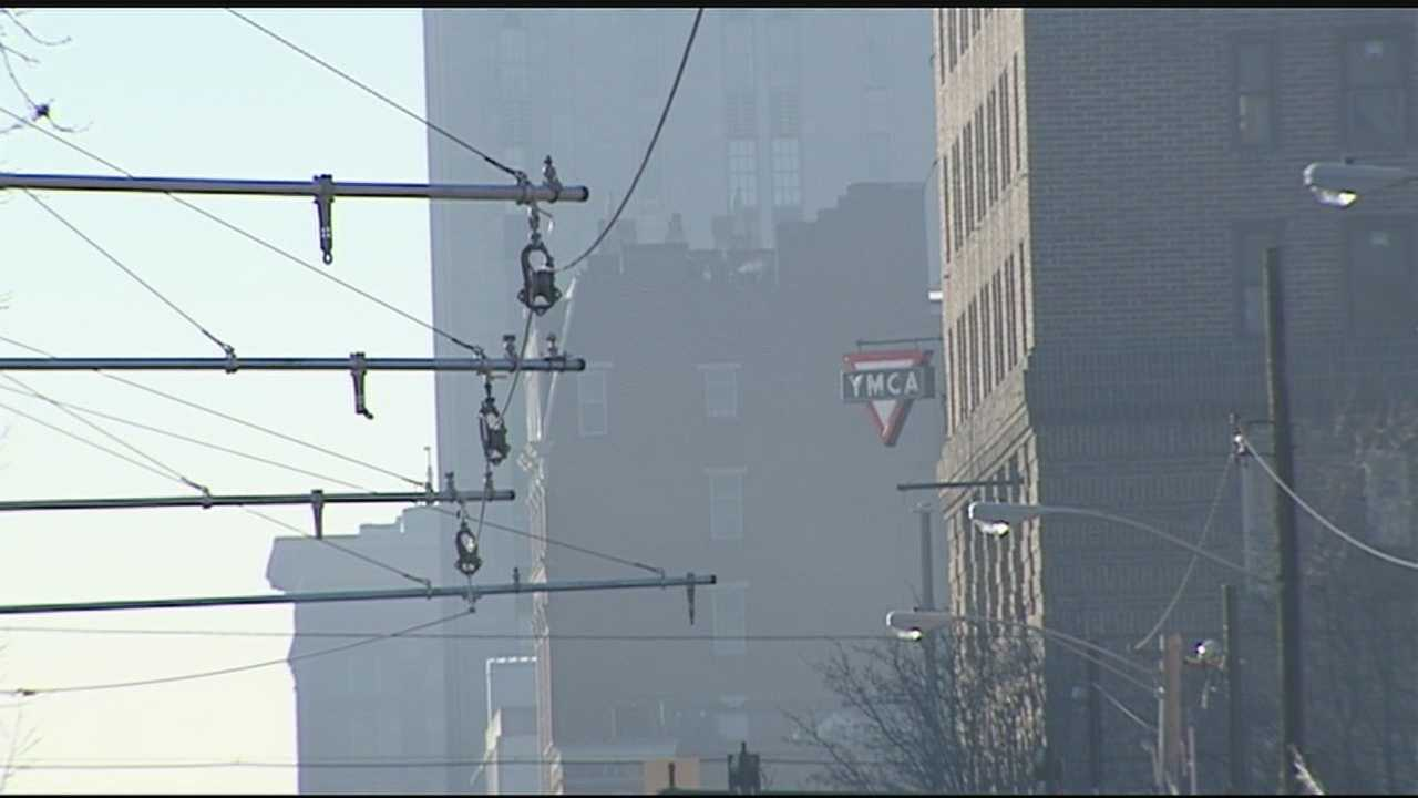 The first sections of overhead wires, or OCS, go along Elm Street from 12th Street to Henry Street.