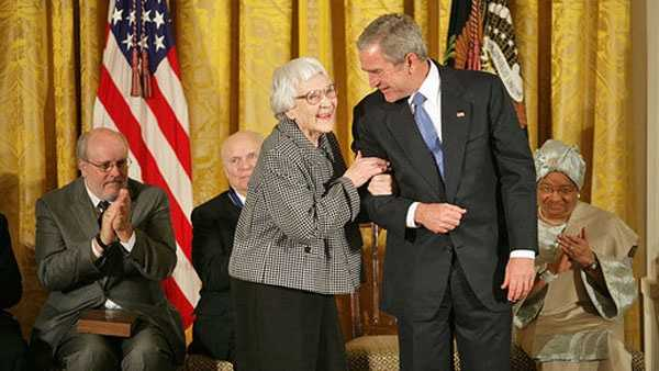 Harper Lee receiving the Presidential Medal of Freedom in 2007