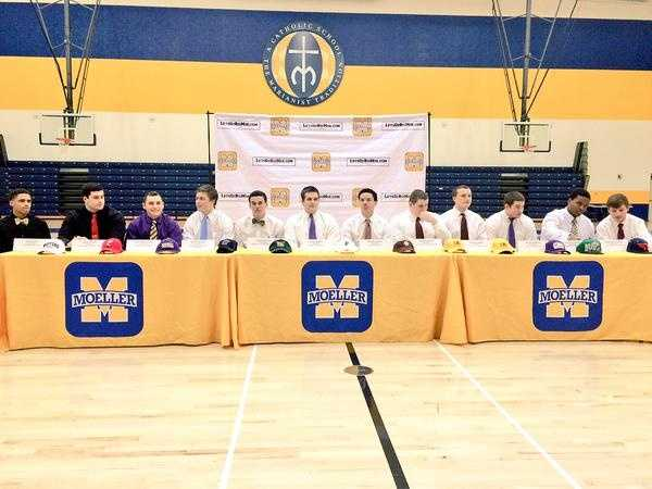Moeller High School:Noah Able, football - Wofford CollegeMitch Brauning, football - Ashland UniversityDoug Bates, football - University of CincinnatiMatt Crable, football - Grand Valley StateMiles Hayes, football - College of William and MaryEvan Horst, football - Furman UniversityChase Pankey, football - Boston CollegeAustin Ringel, football - University of CharlestonDaniel Shirk, football - University of CharlestonRyan Stofko, football - Ashland University