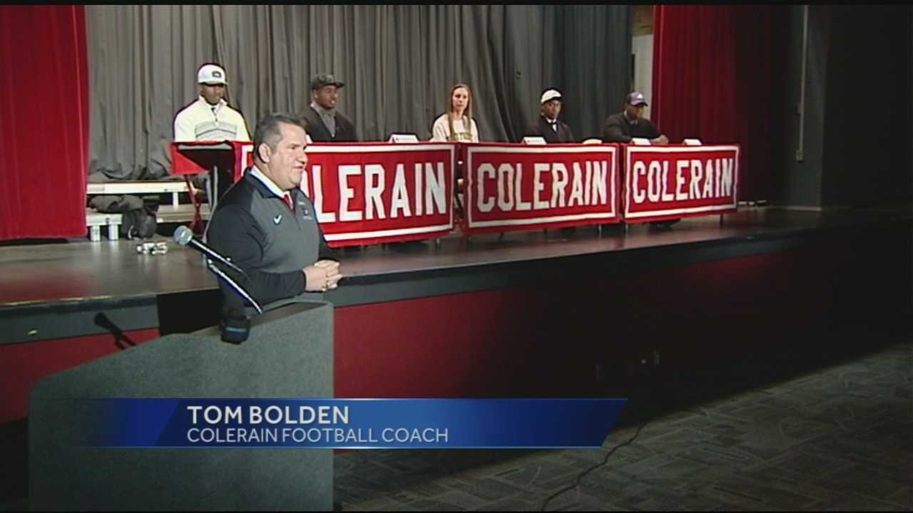 At Colerain High School, five football players and one women's soccer player committed to colleges Wednesday.