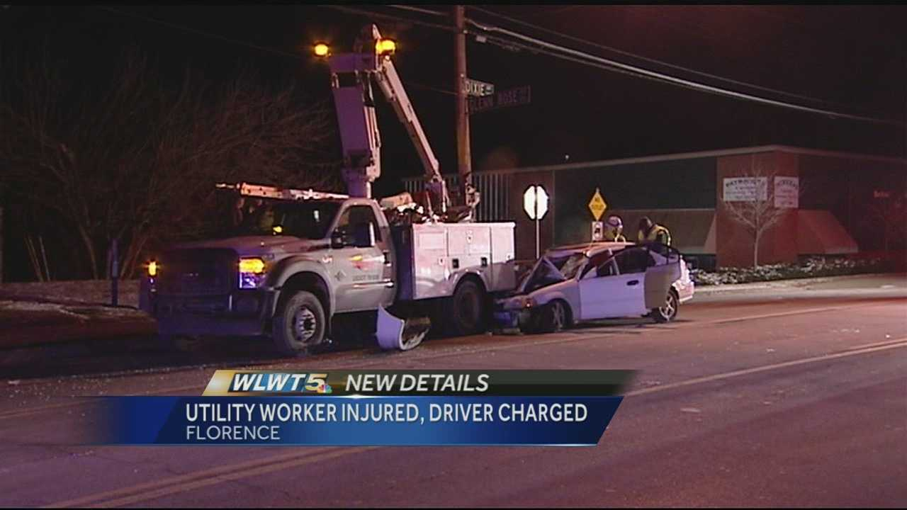 A worker was flown to a Cincinnati hospital after a crash in Florence early Friday.