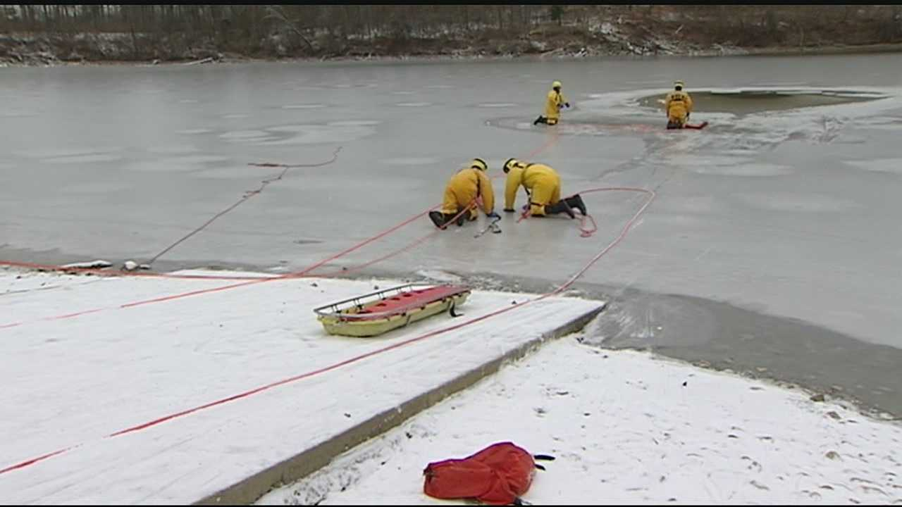 On Friday morning, a dozen firefighters, three of them rookies, took to the cold waters of the Winton Woods lake.