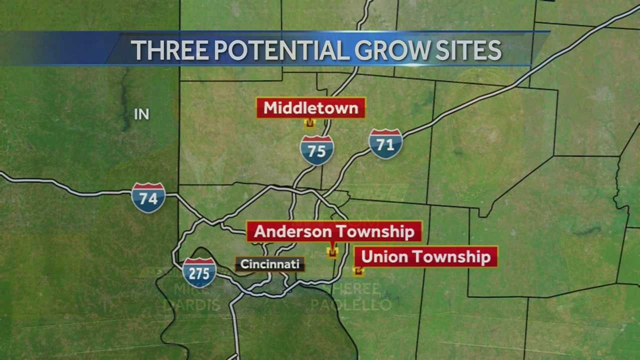 Three plots of land in the greater Cincinnati area could become marijuana grow farms if voters legalize pot. The proposed sites are in Hamilton, Butler and Clermont Counties.