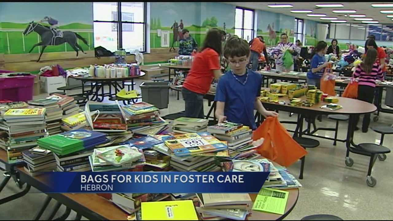 Organizers said the students stuffed the bags with blankets, stuffed animals, books and toiletries.