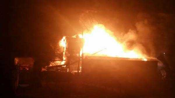 An overnight fire destroyed a feed mill in Sardinia. All photos from Stephanie Vaske