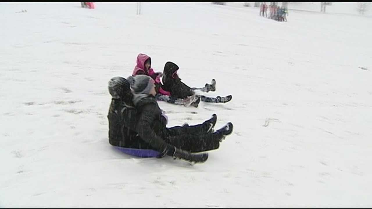 Popular spots for sledding, like Devou Park, were filled with sled riders taking advantage of the wintry weather Monday.