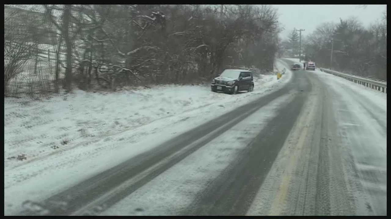 The snow caused problems for drivers in some parts of Cincinnati, while others didn't mind the sudden taste of winter.