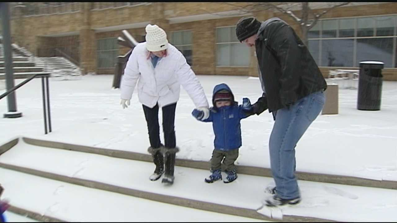 Fighting a rare form of skin cancer, unable to romp and play in sunlight, Reef Carneson, 6, experienced a true, boyhood delight Monday morning for the first time. He saw snow.