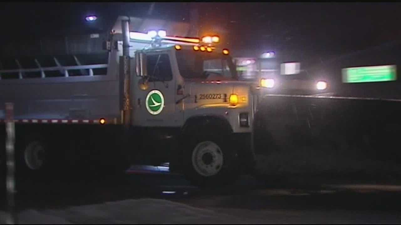 Crews in Ohio, Kentucky and Indiana are working 12-hour shifts to clear roads before the Tuesday morning commute.