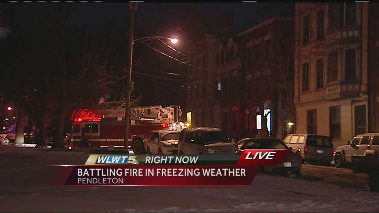 Firefighters battled flames and frigid temperatures at a fire scene in Cincinnati overnight.