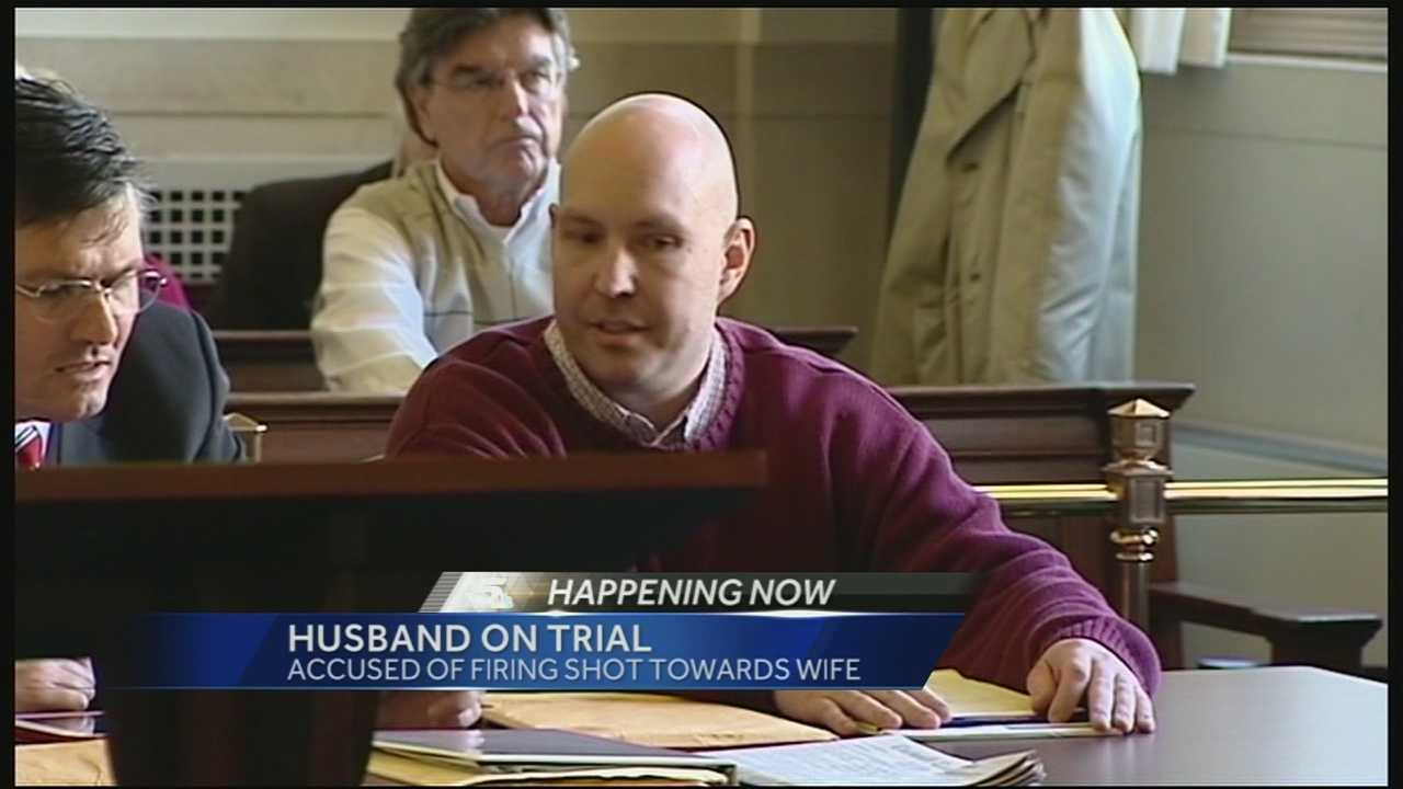 Blake Seylhouwer is accused of firing a shot at his wife outside their Madeira home. The shot hit the pavement about 10 feet from her and sent chunks of concrete flying at her, sending her to the hospital.