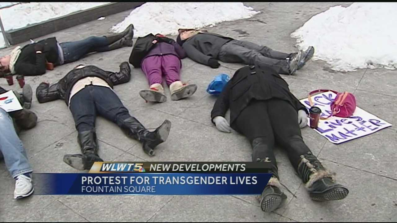 A die-in demonstration was held at Fountain Square Saturday afternoon, to raise awareness about violence against transgender individuals.