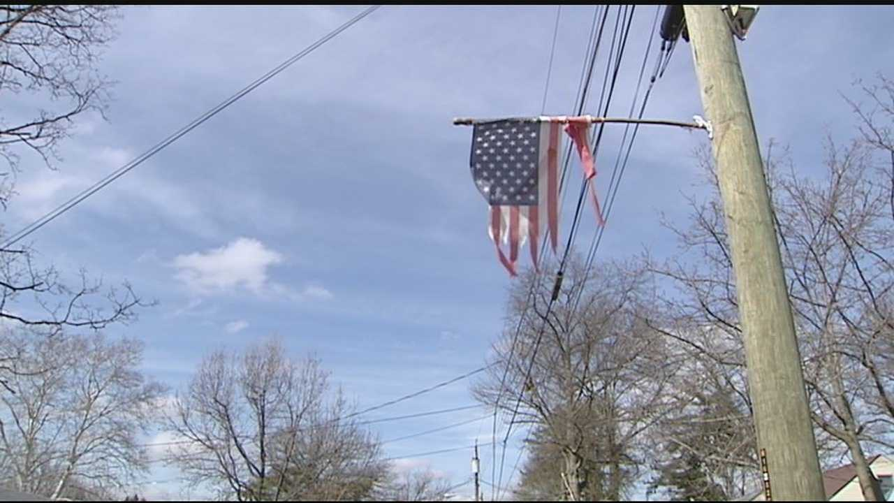 Springfield Township officials said the poles the flags are mounted on belong to the utility companies, and there are no township regulations which prohibit that.