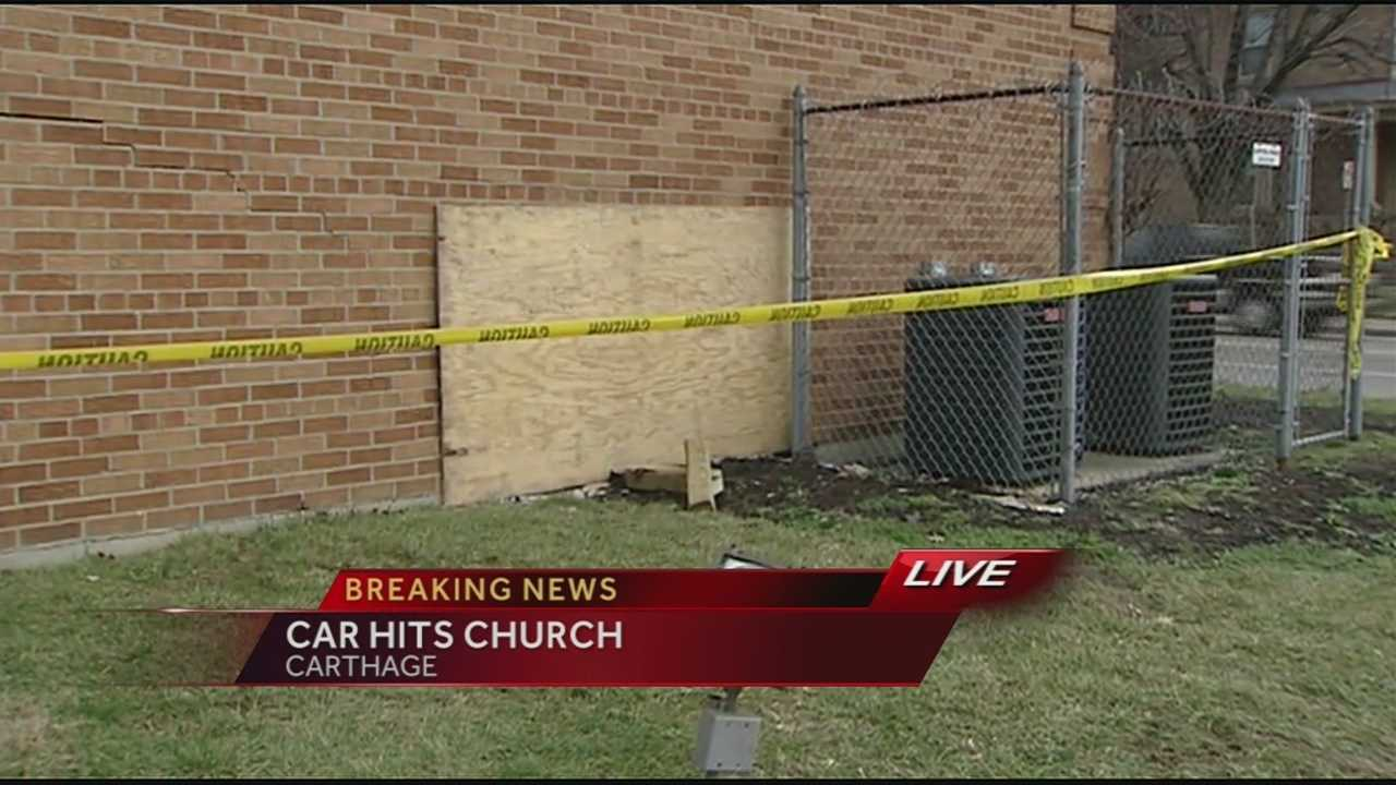 Two cars collided at West North Bend Road and Fairpark Avenue, police said. One of the cars spun out and around, kept going and hit New Jerusalem Baptist Church on W. North Bend Road, punching a hole in the wall.