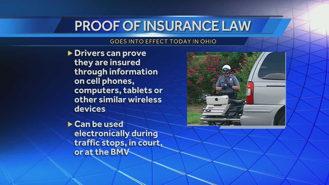 The new state law goes into effect today allowing drivers in ohio to show proof of insurance electronically. It's not just at traffic stops.The electronic proof of insurance can be used at the Bureau of Motor Vehicles, courts. and any traffic violation bureaus. You can use you phone, tablet, even computer instead of searching for the printed card.
