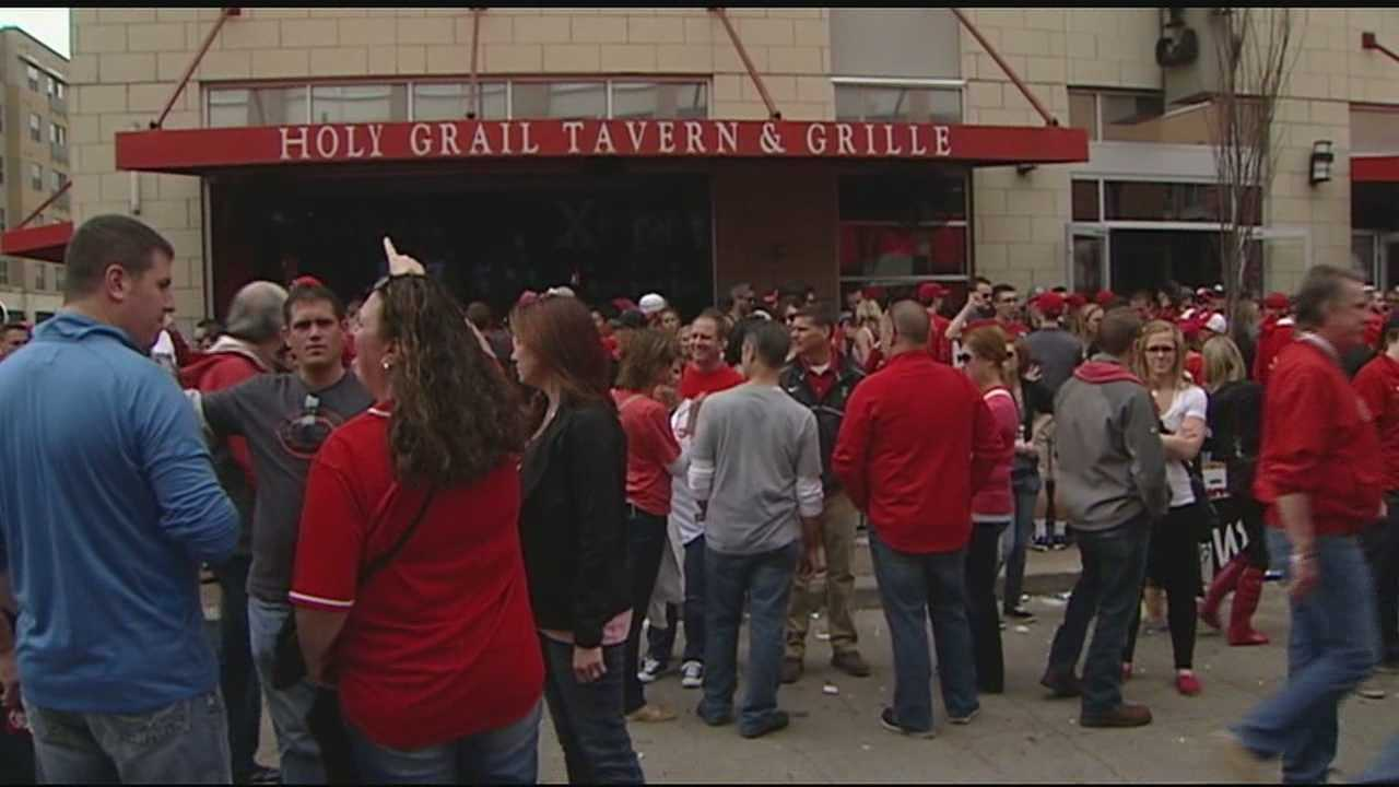 Before gates at Great American Ball Park even opened, Reds fans were celebrating Opening Day along The Banks.