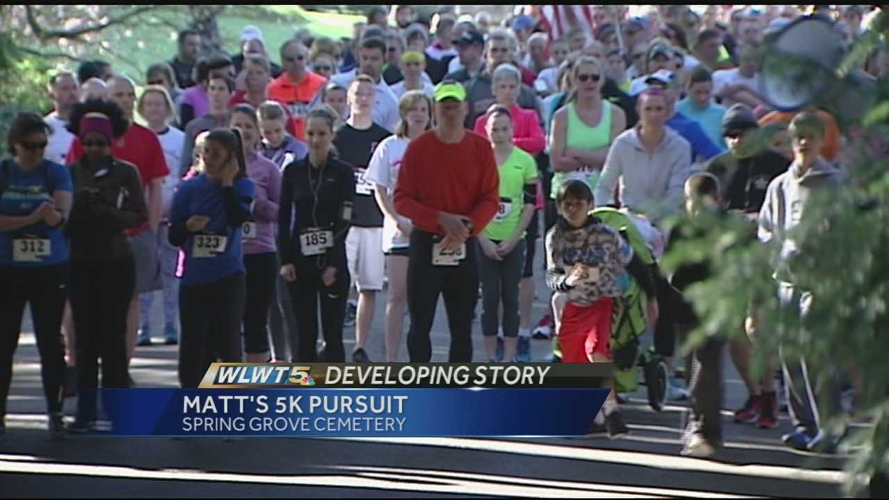 More than 700 runners hit the trails of Spring Grove Cemetery for the 10th annual Matt's 5K Pursuit on Sunday. The run supports the Matt Haverkamp Foundation. Haverkamp was a Golf Manor police K-9 officer, killed 10 years ago in a car accident.