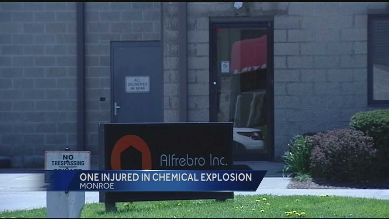 Dispatchers said a chemical drum exploded at Alfrebro. Authorities confirmed that one person was injured in the explosion, and was taken by Air Care to Miami Valley Hospital. The man's injuries were unknown, but he was conscious during the flight.
