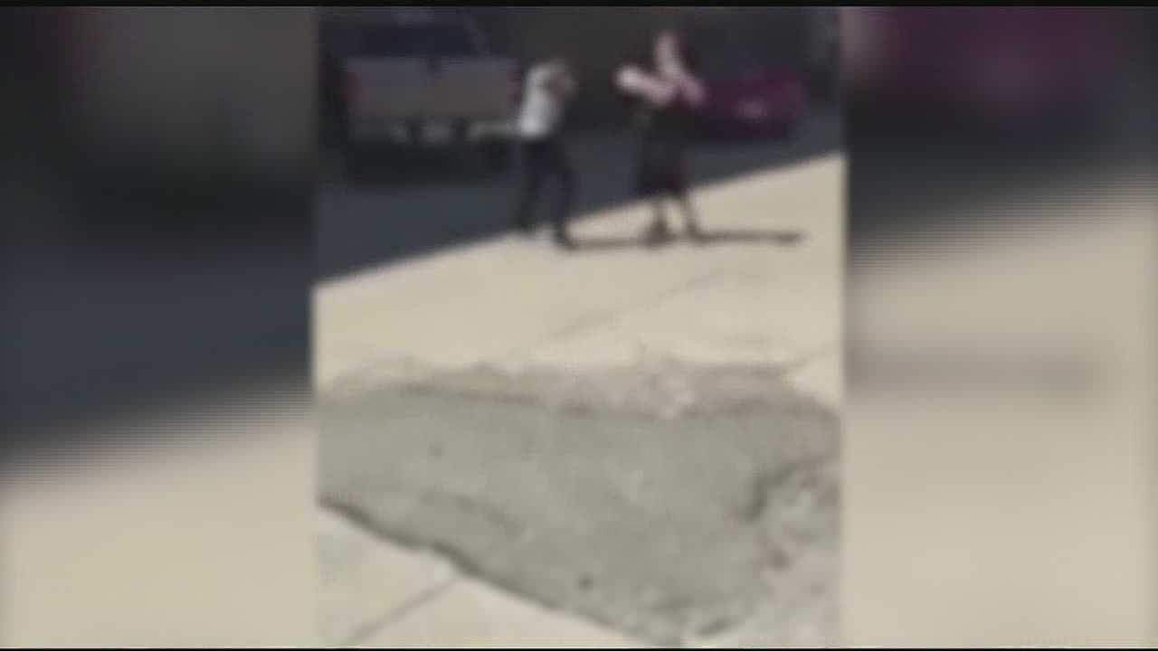 During the fight, school resource officer Trey Porter is seen running over to break up the fight. In the process, he knocks down one of the boys.