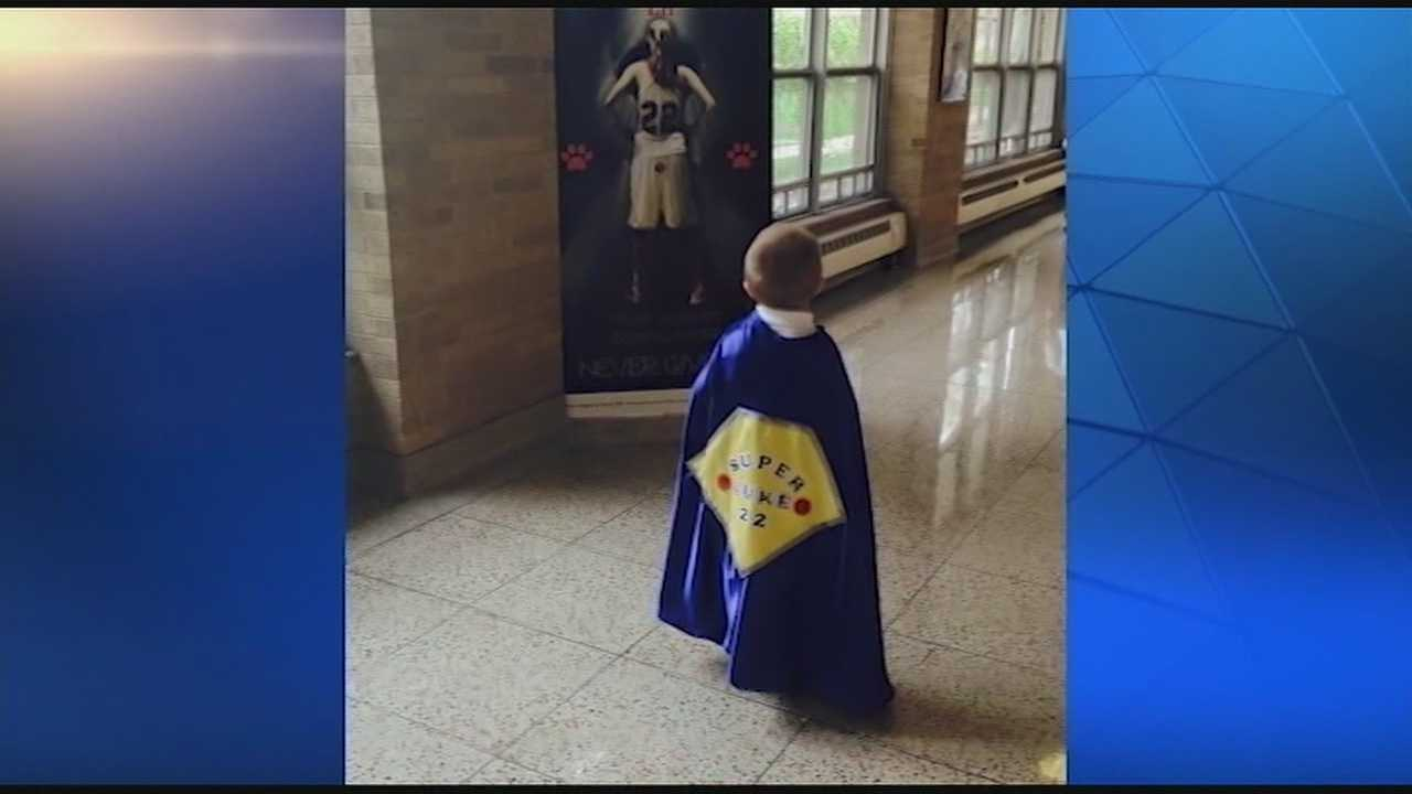 Laura O'Brien is running the Flying Pig Hlaf Marathon, hoping to raise awareness of pediatric cancer. Laura's nephew, Luke, 4, or Super Luke, as he is often called, has been diagnosed with two inoperable brain tumors.