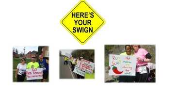 Here's Your Swign Zones - Check out your requested handmade personal sign on both the full marathon and half marathon courses. Stop and take a photo if you wish. Want a swign? Send requests to media@flyingpigmarathon.com indicating marathon or half marathon, participant's name, and inscription.