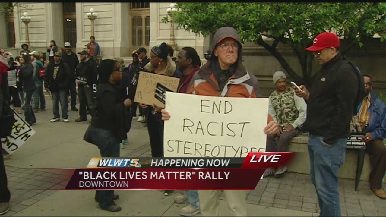 John London speaks with those who congregated downtown in Cincinnati about the goals of the peaceful rally.