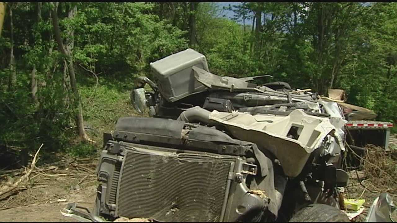 A man was killed in a crash in Switzerland County on Tuesday morning. The sheriff's office said a truck hauling steel rolls careened down an embankment and ran into a house on Paddlefish Road just off Indiana 156. The crash happened around 6:30 a.m.