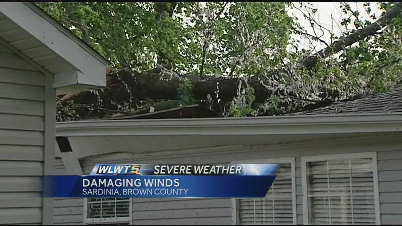 A home on Bodman Road in Mt. Orab was hit by a falling uprooted tree.