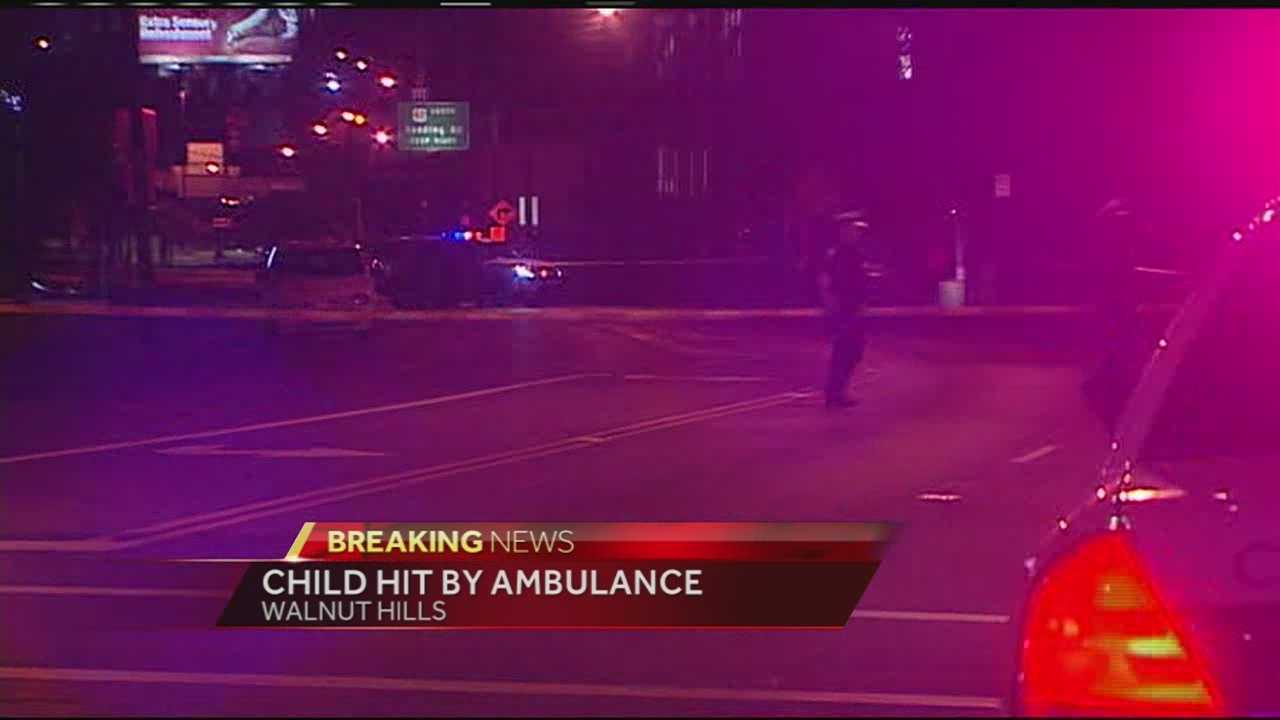 A child was being treated at Cincinnati Children's Hospital after being hit by an ambulance Tuesday night.