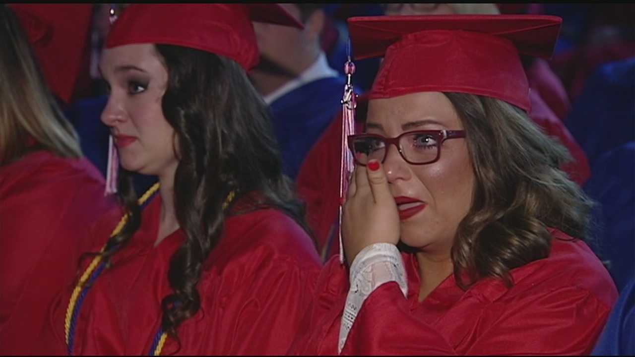 Savannah Burlile's older brothers, Nick Burlile and Adam Burlile, couldn't be at graduation but sent a special suprise message for their sister.