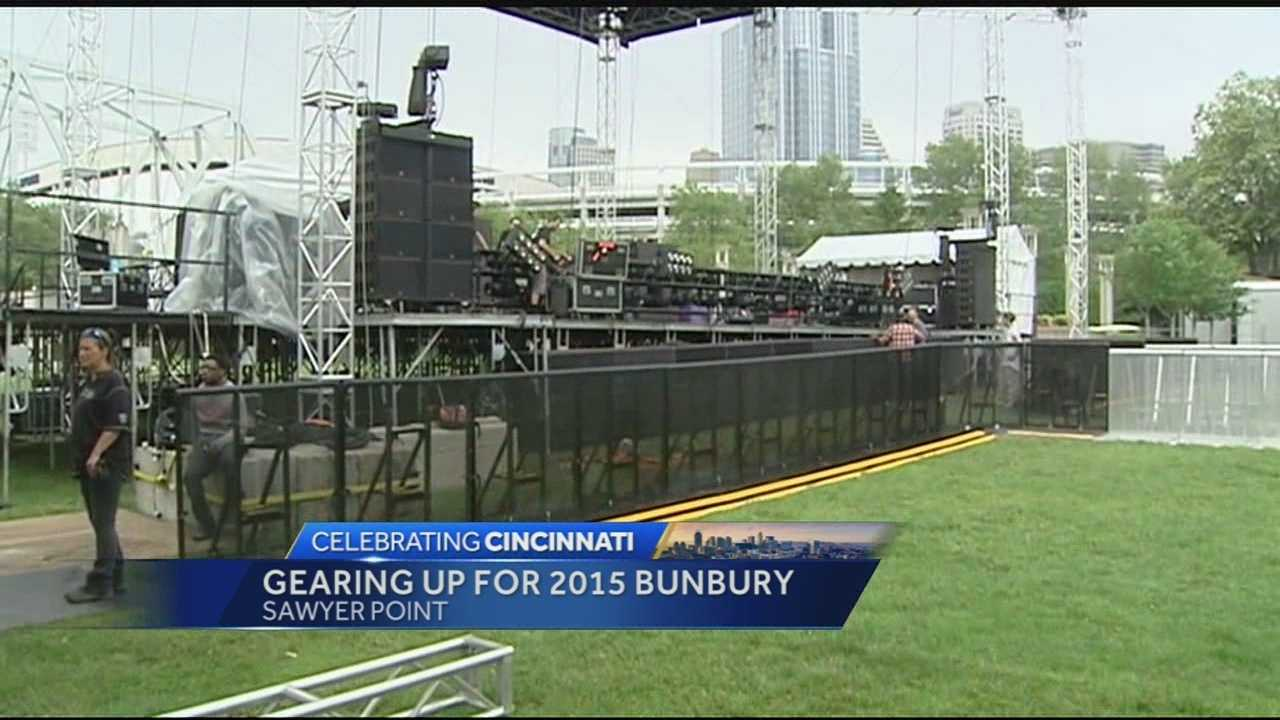 Things are buzzing at Sawyer Point in preparation for 2015 Bunbury Music Festival. Crews have started erecting the four stages that will host the musical acts for the three-night festival.