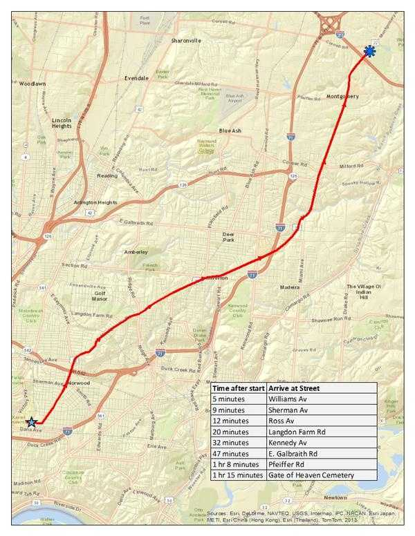 The public was encouraged to line the 16-mile funeral procession route on Montgomery Road between the Cintas Center and the Japanese Karate-Do dojo and Gate of Heaven Cemetery.
