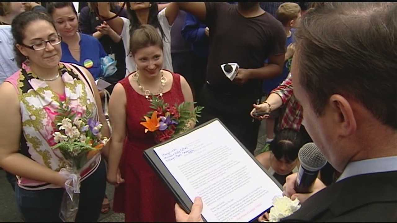 Following the SCOTUS ruling on same-sex marriage, the first same-sex marriage was performed at the Hamilton County Courthouse followed by a mass wedding on Fountain Square, which was officiated by Mayor John Cranley.