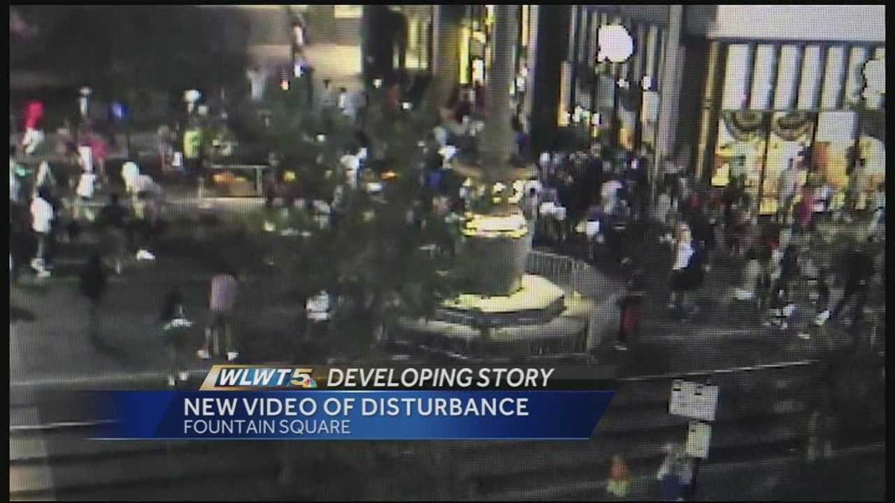 New video footage of the disturbance on fountain square on Saturday has surfaced.