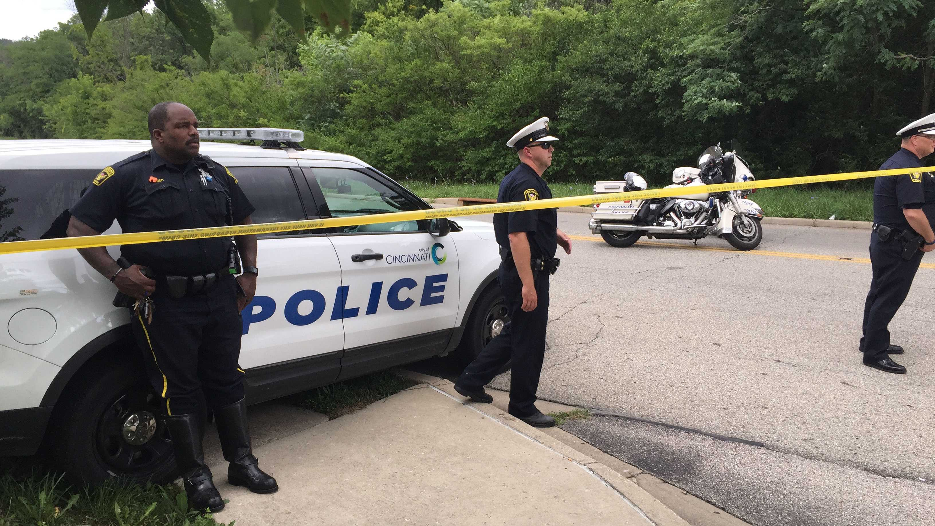 Officers block traffic near the fatal crash scene