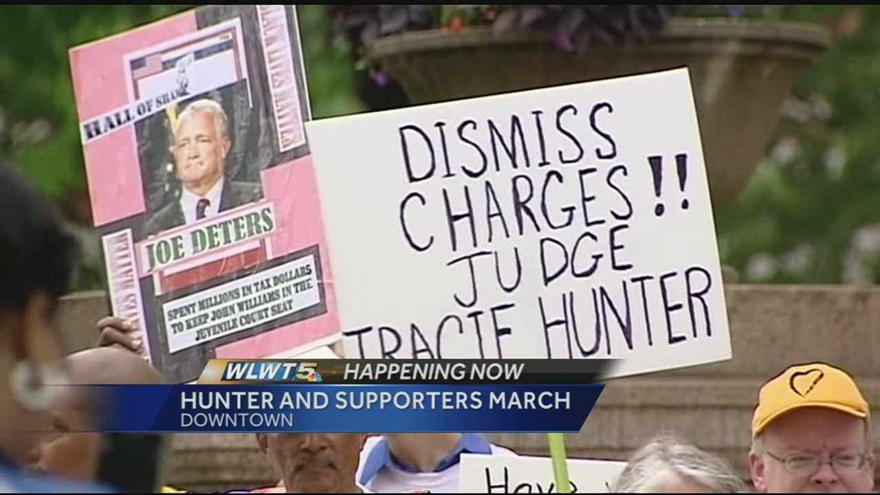 Suspended Juvenile Judge Tracie Hunter took to the streets with her supporters Monday.